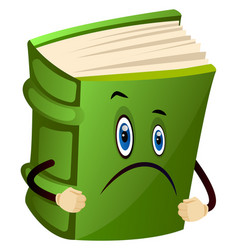 Green book is sad on white background vector