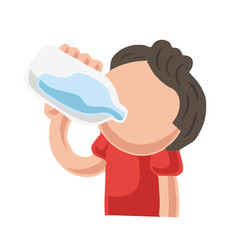 hand-drawn cartoon of man drinking bottle of water vector image