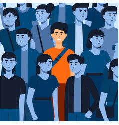 Happy and satisfied young man surrounded depres vector