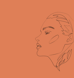 head of beautifull young woman on red vector image
