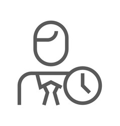 human resource management line icon working hours vector image