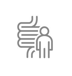 Intestine with man line icon human digestive vector