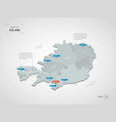 Isometric iceland map with city names vector
