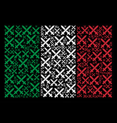 italy flag mosaic of crossing swords items vector image