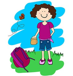 Little girl with lunch and back pack vector image
