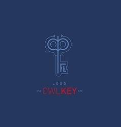 Logo creative development of the owl and the key vector image