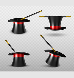 Magician hat and magic wand for circus show vector