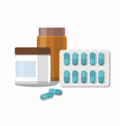 medicine pills capsules and bottles vector image