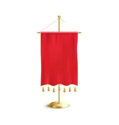 medieval pennant flag hanging on golden metal pole vector image