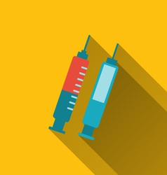 Modern flat icons syringes with long shadows vector