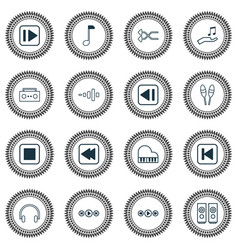 Music icons set with media player previous music vector