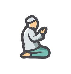 muslim prayer pray icon cartoon vector image