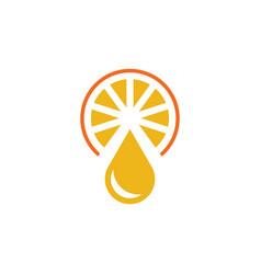 orange juice drop fruit logo icon element vector image
