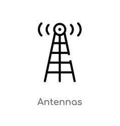 Outline antennas icon isolated black simple line vector