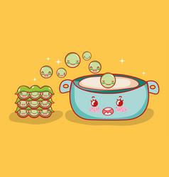 Peas soup japanese food kawaii cartoon vector