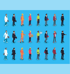 people professions characters isometric men vector image