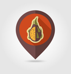 pitaya flat pin map icon tropical dragon fruit vector image