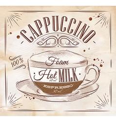 Poster cappuccino kraft vector