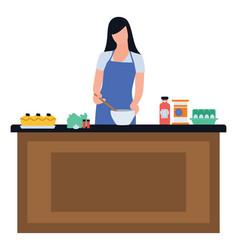 Preparing food vector