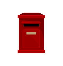 Red metal postal box wall-mounted mailbox vector
