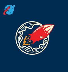Rocket in retro style vector
