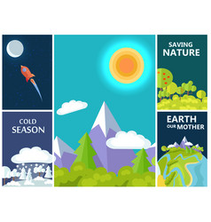 Saving nature mother earth and cold season set vector