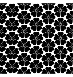 seamless flowers icons pattern isolated on white vector image