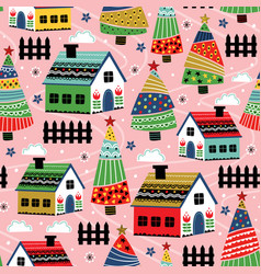 seamless pattern with decorative house vector image