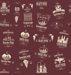 seamless pattern with various wine labels vector image