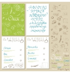 Set Cheese Menu vector