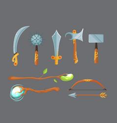 set fantasy cartoon game design swords vector image
