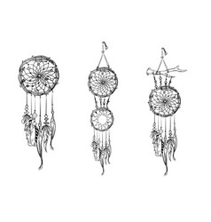 Set of hand drawn dream catchers ornate ethnic vector