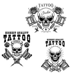 Set of tattoo studio emblem templates crossed vector