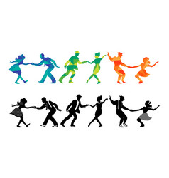Set three dancing couples silhouettes vector