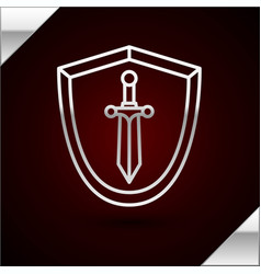 Silver line medieval shield with sword icon vector