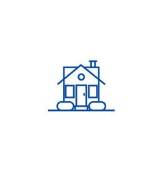 simple house line icon concept simple house flat vector image