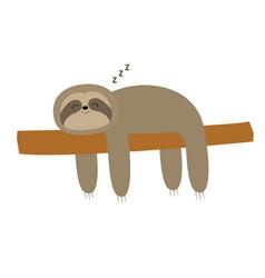 Sloth sleeping on tree branch cute lazy cartoon vector
