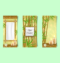 spa salon bamboo banner set realistic vector image