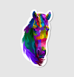 sticker colorful horse head vector image