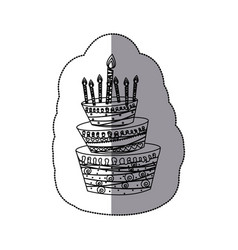 Sticker silhouette cake three floors with candles vector