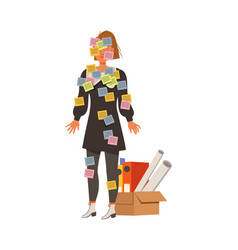 Stressed out woman office employee covered with vector