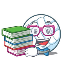 Student with book volley ball character cartoon vector