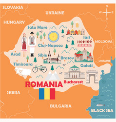 stylized map romania vector image