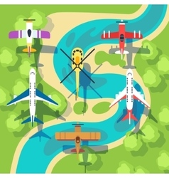 Top view planes and helicopters above landscape vector