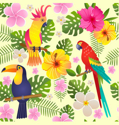 Toucan and parrot sits on a flowering branch vector