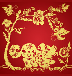 Traditional red paper cut out chinese dog vector