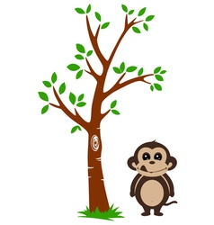 Tree and Monkey vector
