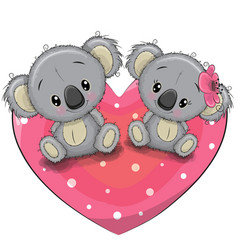 Two cute koalas on a heart vector