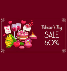 Valentine day sale banner hearts and flowers vector