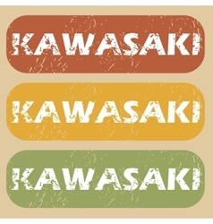Vintage Kawasaki stamp set vector